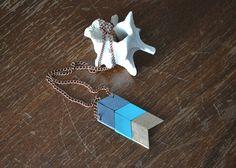 Yuchi Arrow Chevron Tribal Necklace in Gray, Turquoise, Gold Color Block. $16.00, via Etsy.