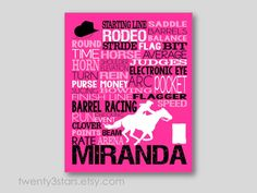 Barrel Racing Typography Art girl's room art shown in hot pink, black and white by twenty3stars