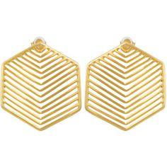 Kasturjewels Art Deco Heritage Hexagon Earrings found on Polyvore