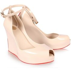 Melissa Shoes Patchuli Wedge Cream | GarmentQuarter ($130) ❤ liked on Polyvore