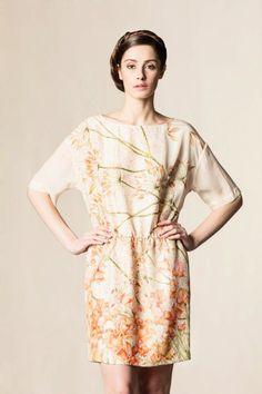 Vestito seta stampato stampa var. rosa