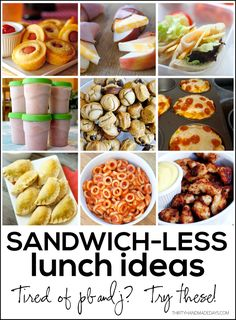 Mix it up with your kid's school lunches with these sandwichless lunch ideas. So many great ideas for lunch even I want to try!