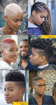 Short Fade Haircuts for Black Women by Step the Barber in Atlanta.<br> Here are 6 fade haircuts for women cooked up by Step the barber out of Atlanta, Georgia. This brother is pushing his Andis clippers to an entire different level. Short Fade Haircut, Short Hair Cuts, Natural Short Hairstyles For Black Women Tapered Twa, Female Fade Haircut, Tapered Haircut For Women, American Girl Hairstyles, Curly Hair Styles, Natural Hair Styles, Tapered Natural Hair