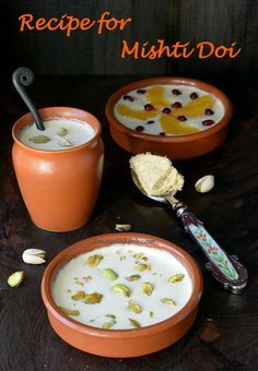 Step wise Recipe for Mishti Doi to make rich, creamy & decadent sweet yogurt fermented in earthen pots.The sweetness is lent from lightly caramelised sugar. Indian Dessert Recipes, Indian Sweets, Sweet Desserts, Delicious Desserts, Yummy Food, Snack Recipes, Cooking Recipes, Milk Recipes, Snacks