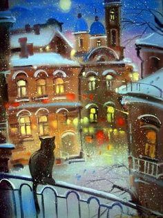 Зимний кот картины.  Эльмира Мустафина