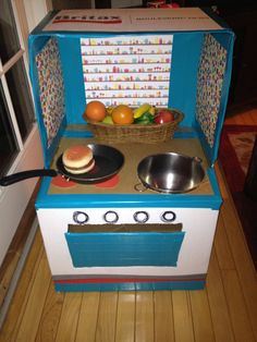 DIY play kitchen from carseat box