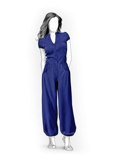 Jumpsuit With Decorative Pockets - Sewing Pattern #4044. Made-to-measure sewing pattern from Lekala with free online download.