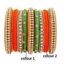 Orange and Green Studded Bangle Set