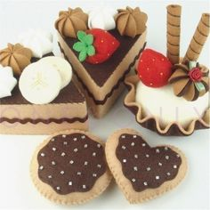 Felt Cake Set - I LOVE CHOCOLATE Tea Party Dessert Set