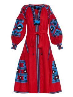 Mexico embroidered linen midi dress | Vita Kin | MATCHESFASHION.COM US