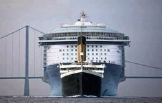 The size of the Titanic compared to the largest cruise liner afloat today.