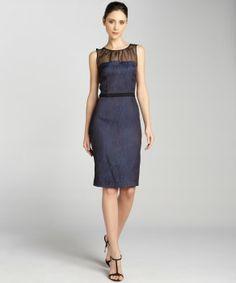 Julian Taylor blue and black jacquard illusion dress