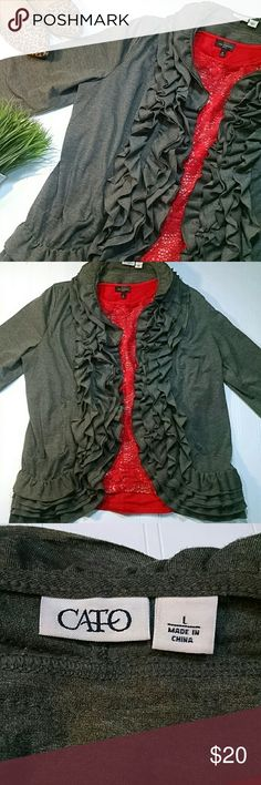 Cato's ruffled cardigan Grey cardigan with lots of ruffles in the front. 3 hook and eye closure or can wear as just open, long sleeves. Polyester/spandex. Excellent condition. Sz large. Cato Sweaters Cardigans