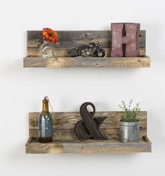 This is for a set of 2 shelvesThis item is made 100% from reclaimed wood.Measures 24x7x7Every piece we create is its own creation. We do our best to match our photos but wood does what it wants. This is the nature of creating home decor out of old lumber. We will do what we can to get you what you want, but a open mind is a must. Colors, textures, and character makes will always be different from piece to piece. Thanks for understanding!!