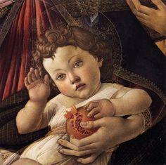 Sandro Botticelli-Madonna della melagrana(dettaglio), 1487, tempera su tavola, diametro 143,5 cm, Firenze, Galleria degli Uffizi