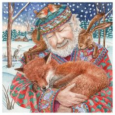 The Storyteller : Yule/Winter Solstice : Cards by Occasion / Recipient : Home : Pagan/spiritual and fairy/fantasy greeting cards, prints and gifts at Moondragon Art Fox, Art Fantaisiste, Photo D Art, Art Et Illustration, Book Illustrations, Winter Art, Winter Snow, Art Graphique, Christmas Art