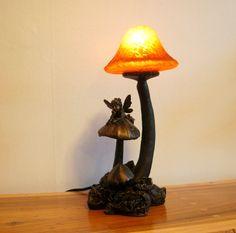 Good Wonderful Bronze Crosa Table Lamp With A Fairy Lounging Among The Mushrooms  Under An Amber Mushroom Idea