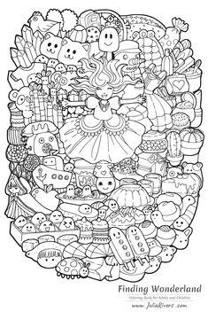 'Finding Wonderland' : Gorgeous coloring pages with a happy Princess and various Doodle characters (Kawaii style), From the gallery : Back To Childhood Chibi Coloring Pages, Adult Coloring Book Pages, Coloring Book Art, Coloring Pages For Girls, Cute Coloring Pages, Doodle Coloring, Disney Coloring Pages, Animal Coloring Pages, Coloring Pages To Print