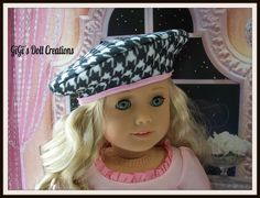 Houndstooth Black and White French Beret for American Girl Doll by GiGisDollCreations on Etsy