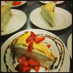 Luci Crepe Cake - Spring 2014 with Fresh Strawberries and Housemade Chocolate Ganache - Saint Paul, MN