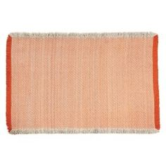 CHELMSFORD Large orange and cream flat weave rug 170 x 240cm