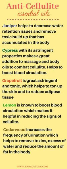Best anti-cellulite essential oils which are great to add to massage oil blends to reduce the appearance of cellulite and ton up the skin #cellulite #essentialoils #natural #massageoil