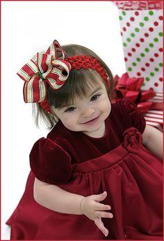 Red/Gold/Green Christmas Crochet Baby Headband