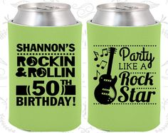 50th Birthday, 50th Birthday Party, Rock and Roll Birthday, Party like a Rock Star, Birthday Can Coolers, Birthday Coolies (20173)