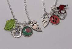 Harley and Ivy BFF Necklace Set DC Comic Inspired Jewelry Harley Quinn Poison Ivy Partners in Crime Comic Book Jewelry Pendant Geek Nerd by BombDotComGeekery on Etsy