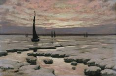"""""""Winter Sunset,"""" ca. 1890, Birge Harrison, oil on wood mounted on wooden cradle, 15 1/4 x 23 3/8 in. (38.7 x 59.4 cm.), Smithsonian American Art Museum, Museum purchase, 1984.23"""