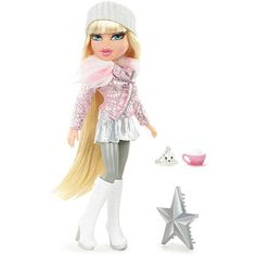 This is part of the Pink Winter Dream Bratz collection. Each doll is uniquely attired in high fashion winter gear. See Cloe and her BFFs in this collection. Girl Dolls, Barbie Dolls, Bratz Doll Outfits, Brat Doll, Bratz Girls, High Fashion Looks, Poppy Parker, Metallic Skirt, Monster High Dolls