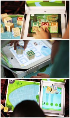 iPad play with physical toy blocks from Wonderblox.