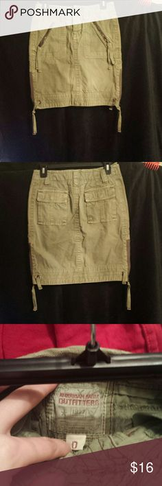 Olive green denim pencil skirt pockets zippers Nice American Eagle Outfitters Skirts Pencil