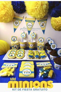 N.M. Galletas Artesanas: Kit de fiesta Minions {Descarga gratuita} Minion Theme, Minion Birthday, Baby Boy Birthday, 2nd Birthday Parties, Despicable Me Party, Minion Party, Party In A Box, Party Kit, Candy Bar Minions