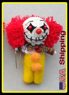 Pennywise the clown Voodoo String Doll Keychain Keyring phone charm