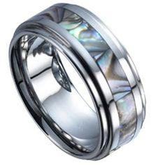 $17.99 - 8MM Men's Black and Blue Center Design Carbon Fiber Tungsten Ring