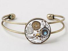 Steampunk Cuff Bracelet Vintage silver Hamilton watch movement gears gold bracelet with blue crystal Steampunk jewelry Steampunk Nation 2396