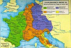 Map of Charlemagne's Empire 814. Artist unknown. Europe. This is a map of the split of Europe after the Treaty off Verdun. This map helps me understand the land split and who took what. I think this is important because the Treaty of Verdun was a big event in this period of time.