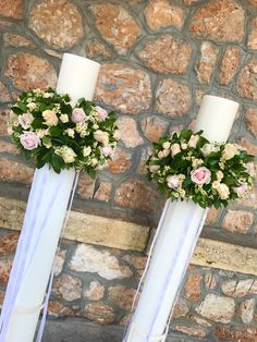 #lampades #gamou #λαμπαδες #γαμου Wedding Flower Decorations, Wedding Flowers, Table Decorations, Church Candles, Christening, Coffee Shop, Hair Beauty, Weddings, Home Decor