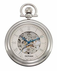 """Gotham Men's Silver-Tone 17 Jewel Exhibition Mechanical Pocket Watch with Built-In Stand # GWC14055S Gotham. Save 50 Off!. $59.95. Includes matching 15"""" curb pocket watch chain with spring ring attachment. Rich antique style blue cobalt hour, minute and seconds hands plus scratch resistant mineral crystal. Beautiful exhibition case back showing all moving parts. Classic and elegant silver-tone 17 jewel mechanical open face exhibition pocket watch with Roman numeral dial. Arrive..."""