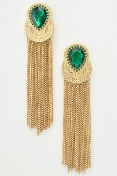 Gold Tassel Earrings with green rhinestone,  £9.99