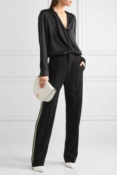 Black silk-charmeuse Concealed snap and button fastenings through front 100% silk Dry clean Imported