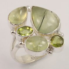 Marvelous Ring Size US 9 Natural PREHNITE & PERIDOT Gemstone 925 Sterling Silver #Unbranded
