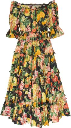 Shop Off-The-Shoulder Floral Poplin Midi Dress. Crafted from lightweight floral poplin, Dolce & Gabbana's midi dress is printed with one of the label's signature bold floral patterns. Casual Dresses, Fashion Dresses, Summer Dresses, Floral Maxi Dress, Chiffon Dress, Fall Fashion Trends, Autumn Fashion, Moda Floral, The Dress