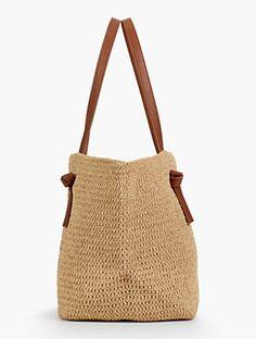 Talbots - Braid-Handle Straw T Suede Handbags, Straw Handbags, Purses And Handbags, Crochet Tote, Crochet Handbags, Nude Bags, Diy Straw, Straw Tote, Cheap Bags