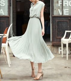Dusty blue chiffon Pleated dress maxi dress Evening dress short sleeve dress sundress Summer dress tunic dress casual dress party (159)