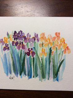 Iris Watercolor Card / Hand Painted Watercolor Card Love my Iris blooms that are in bloom right now!! Give flowers that will last. That can also be framed! This card is an original watercolor. This card is painted on heavy card stock. The card is 5x7 and blank inside. Comes with a matching envelope in a protective sleeve.