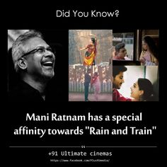 Mani Rathnam sir movies have some affinity towards 'Rain and Train'. Mani Ratnam, A R Rahman, Movie Poster Art, Picture Quotes, Did You Know, Cinema, Train, World, Movies