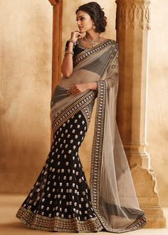 Grey & Black Net and Georgette Lehenga Style Saree With Blouse Online shopping : 381SR07