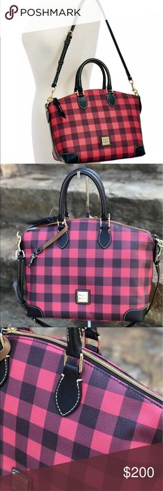 """Dooney Bourke red saffiano leather MSRP is $228+tax Comes from a pet free and smoke free environment. Please message if you have any questions! The Tucker Collection features buffalo check for a classic, preppy look. One of Dooney & Bourke's original styles, this chic satchel features timeless style and provides a variety of carrying options. H 9.75"""" x W 7"""" x L 12"""" One inside zip pocket. Two inside pockets. Cell phone pocket. Inside key hook. Handle drop length 4.5"""". Strap drop length13.25""""…"""